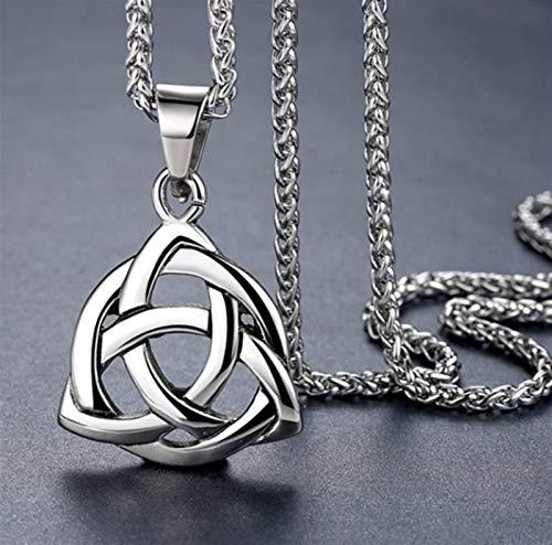 Xpccj Halskette mit Anhänger für Herren mit Knoten, irische Liebe, Triquetra, Glückskette, Halsketten für Männer (Metallfarbe: Silber)