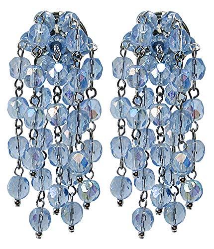 VINTAGE 2 SKY - Orecchini con clips fatti a mano, 7 pendenti in cristallo Celeste, nickel free, originali anni 60, lunghezza cm. 6
