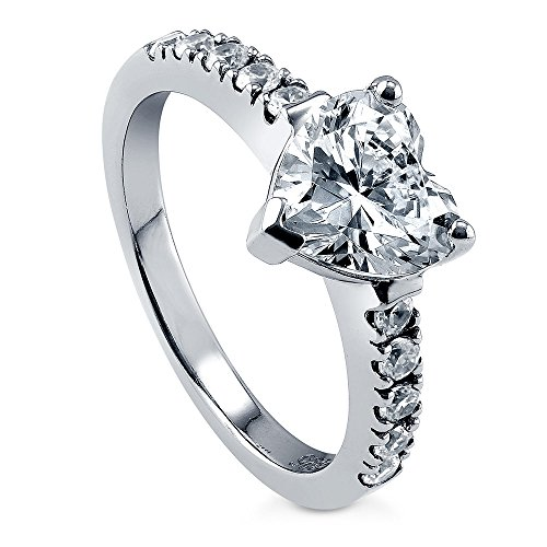 BERRICLE Rhodium Plated Sterling Silver Cubic Zirconia CZ Solitaire Heart Promise Engagement Ring 2 CTW Size 7