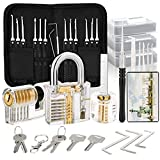 Luxebell Lock Picks 24 pezzi Lock Picking Set con 3 lucchetti trasparenti grimaldelli kit per principianti e professionale Lockpicker