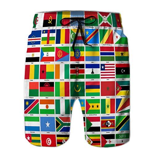 Yuerb 3D Graphic Mens Summer Swim Funny Beach Board Shorts Conjunto de Banderas de Todos los países africanos