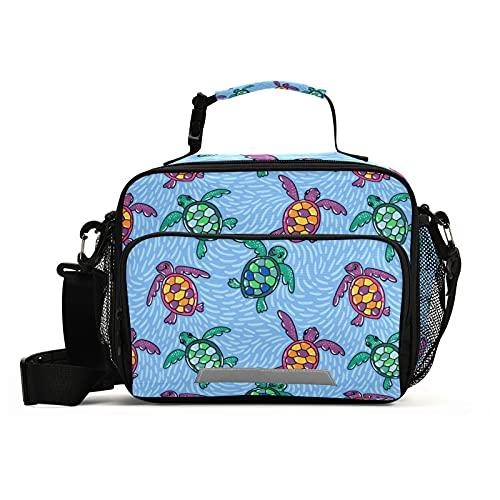 Vector Ocean Turtles - Bolsa de almuerzo reutilizable a prueba de fugas, caja aislada resistente con correa ajustable, organizador portátil de viaje con cremallera para niños