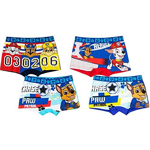 4er Pack Paw Patrol Jungen Boxershorts Kinder Unterhosen 104-110 / Mehrfarbig