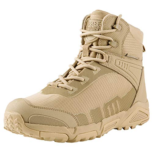 FREE SOLDIER Men's Waterproof Hiking Boots 6 Inches Lightweight Work Boots Military Tactical Boots Durable Combat Boots(Tan,9.5)