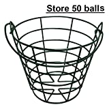 KOFULL Golf Ball Metal Range Basket Golfball Container with Handle - Holds Contain 50 Balls (Green)