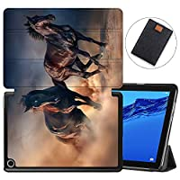 MAITTAO Slim Folio Case For Huawei MediaPad M5 Lite 10 2018 Release, Magentic Smart-Shell Stand Cover with Wake/Sleep for Mediapad M5 lite 10.1 Inch Tablet Sleeve Bag 2 in 1, Akhal-Teke Horse 12
