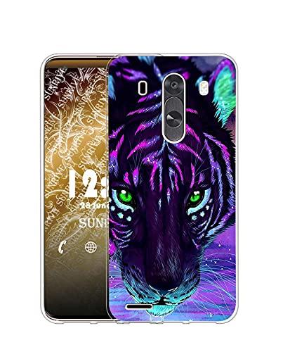 Sunrive Funda Compatible con LG G3, Silicona Slim Fit Gel Transparente Carcasa Case Bumper de Impactos y Anti-Arañazos Espalda Cover(Q Tigre 2)