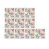 10pcs Papel pintado floral papel de pelar y pegar papel pintado flor pétalo decoración papel pintado extraíble autoadhesivo (Color-I)