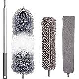 Plumero telescópico, limpiador de polvo de microfibra lavable,Plumero Atrapapolvo Extensible,Microfibra Plumero de Limpieza con Mango de Acero Inoxidable de 2.5m