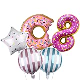 DIWULI, Ballon-Set, XL Sweet Donut Zahlen-Ballon, Zahl 8, Donut-Ballon, 8. Kinder-Geburtstag Mädchen Junge, Motto-Party, Dekoration, Folien-Ballon, Folien-Luftballons, Zahlenluftballon, Stern-Ballon