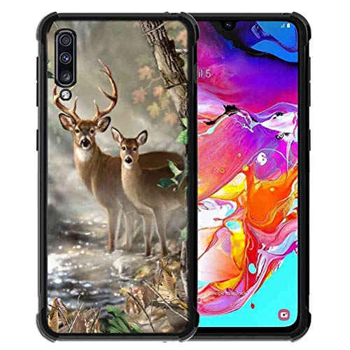 ABLOOMBOX Schutzhülle für Samsung Galaxy A70, stoßfest, weich, schlankes Gummi, Pro Maxtective Schutzhülle mit verstärkter Hülle für Galaxy A70 2019, Hunting Camo Camouflage Deer in Forest