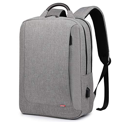 HYZUO Laptop Backpack with USB Charging Port Anti-Theft Water Resistant Slim Stylish College School Backpack Business Travel Bag Fits Up to 15.6 Inch Laptop for Men and Women, Light Grey