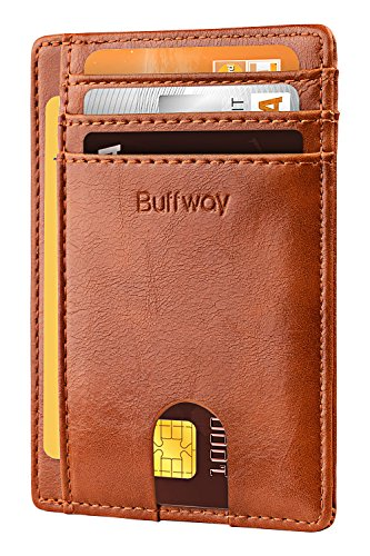 Buffway Slim Minimalist Front Pocket RFID Blocking Leather Wallets for Men Women -...
