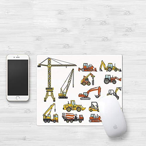 Mauspad mit genähten Kanten,Bau, Cartoon Schwermaschinen und Maschinenbau Gebäudetransport Dekorativ, Gel,rutschfeste Gummi-Basis-Mousepad, Gaming und Office mauspad für Laptop, Computer & PC320x250mm