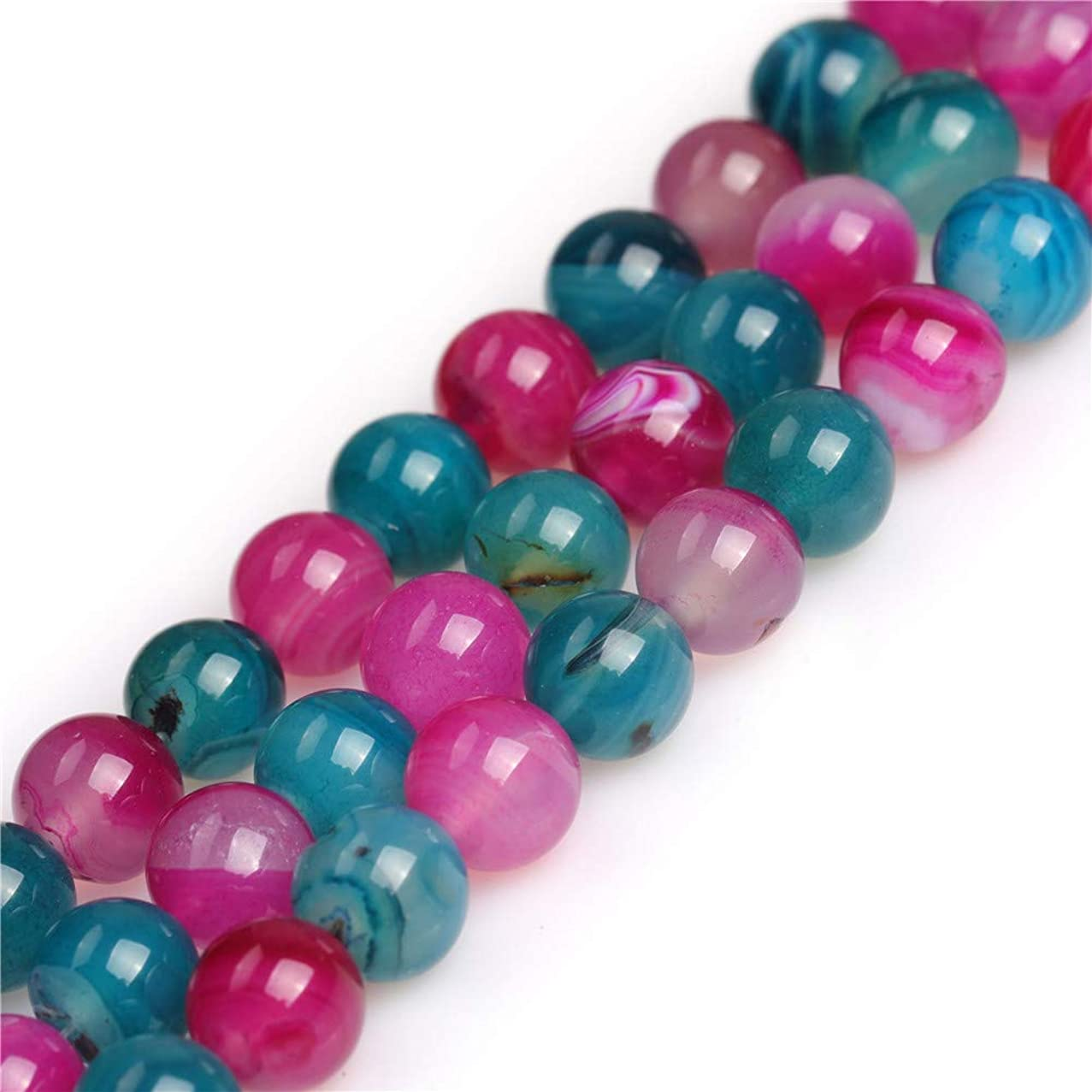 Mixed Color Agate Beads for Jewelry Making Semi Precious Gemstone 10mm Round Strand 15