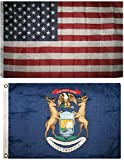 SUPERPUPERFLAG ONE New Garden Wholesale Combo Lot 3x5 USA Flag & State of Michigan 2x3 2 Flags for Your Garden, Home and Any Parties, All Weather Indoors Outdoors, in Any Weather