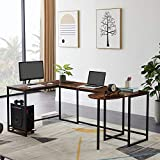 Merax U-Shaped Computer, Industrial Corner Writing CPU Stand, Gaming Table Workstation Home Office Desk, 78.7' L x 47' W x 30.1' H, Tiger