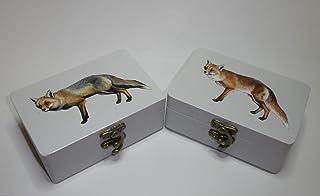 "Caja artesana decorada""Zorro"", Zorro común (Vulpes vulpes), Red fox"