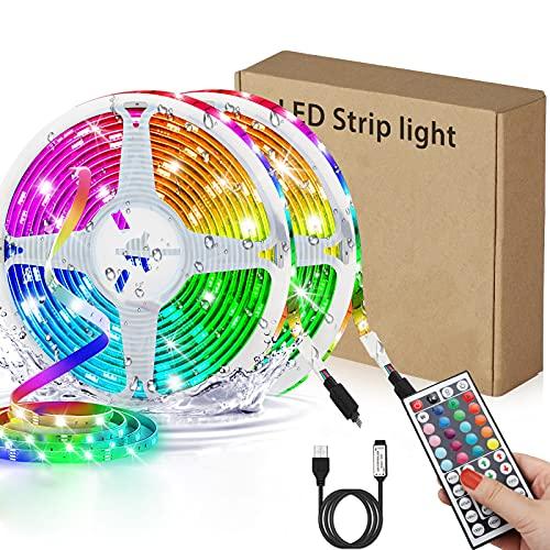Tiras LED RGB 6m, AUELEK USB Tiras LED 360 LEDs 5050 Tira LED Exterior con 20 Colores/ 6 Modos/ Impermeable IP65/ Control Remoto para TV, Techo, Jardín, Casa, Bar, Fiesta, Navidad, Bodas (2x3M)