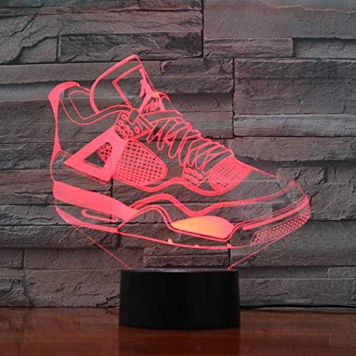 Calzado deportivo Luz de noche 3D para niños, niñas, regalo, lámpara de ilusión 3D para el dormitorio junto a la mesa, lámpara de mesa de escritorio con 16 colores cambiantes, regalo para niños