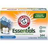 Arm & Hammer Essentials Fabric Softener Sheets, Mountain Rain, Made with Essential Oils, 144ct