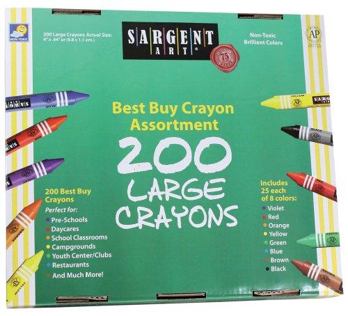 Sargent Art 200-Count Large Crayon Class Pack, Best Buy Assortment, 55-3225