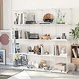 HOMEYFINE, Organizador de Cubos de Alambre (16 Cubos), estantería metálica Modular, multifunción, Bricolaje, estanterías de Almacenamiento portátiles para el salón, la Oficina,Blanco