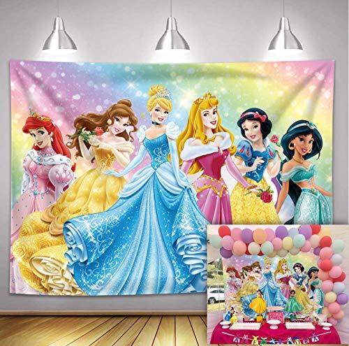 Fondo de fiesta de cumpleaños con temática de princesa de Disney, color rosa para fiesta de primer cumpleaños