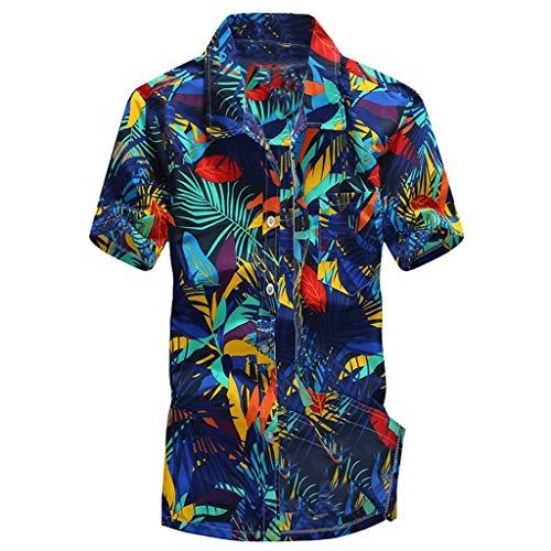 HCFKJ Camisa Corta con Estampado Hawaiano para Hombre Playa Deportiva Blusa De Secado RáPido Blusa Superior