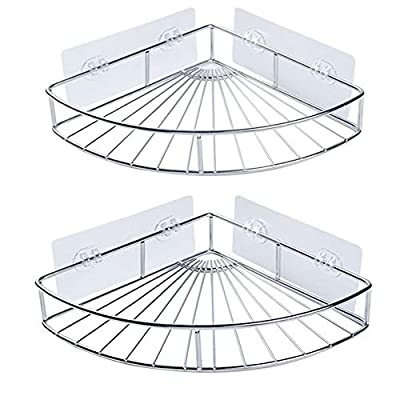 shower caddy organizer, SUS304 Stainless Steel Corner bath Shelf, Wall Mounted Bathroom Shelf with Adhesive, Storage Organizer for Toilet, Dorm and Kitchen (Silver, 2Pack)