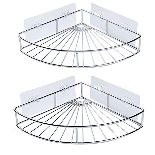 GOODUSCN Corner Shower Caddy, SUS304 Stainless Steel Corner bath Shelf, Wall Mounted Bathroom Shelf with Adhesive, Storage Organizer for Toilet, Dorm and Kitchen (Silver, 2Pack)