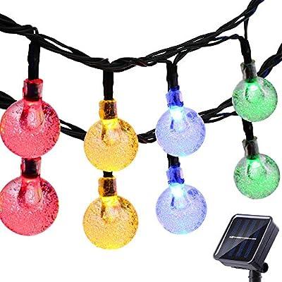 FlyCloud Solar String Lights Outdoor, 50 LED Waterproof LED Outdoor Solar Lights Crystal Ball Decorative Lights 24Ft Indoor Outdoor Fairy Lights for Garden, Patio, Yard, Christmas