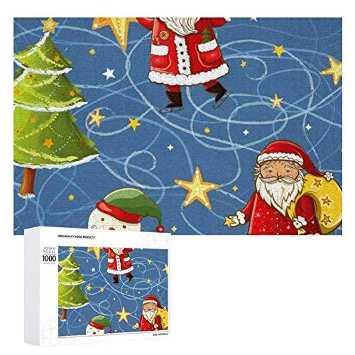 Rompecabezas colorido para adultos y niños, Navidad, muñeco de nieve, estrellas, decoración de pintura para todas las edades, regalo de vacaciones, 1000 unidades