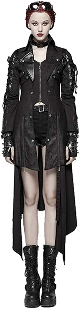 Punk Rave Steampunk Women's Faux Leather Jacket Gothic Black Red Studded Lace Up Trench Coat