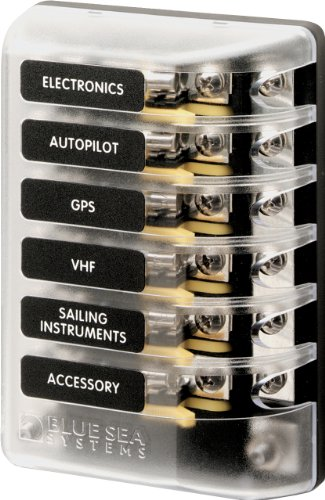 Blue Sea Systems ST Glass 6-Circuit Fuse Block with Negative Bus and Cover
