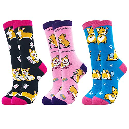 Belloxis Corgi Socken Damen 39-42 Hund Lustige Bunte Socken Kuschelsocken Geschenk für Frauen(3 Paare)
