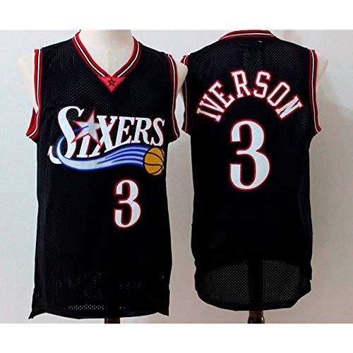 YIXUAN Herren Jersey Trikot #3 Allen Iverson Philadelphia 76ers Mitchell und Ness Men's Athletics Retro Basketball Trikot (Schwarz, M(48))