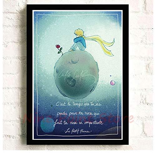 Mengyun Store Peinture sans Cadre Le Petit Prince Affiches De Film Et Impression De Photos Murales Peintures Murales Autocollant Mural Toile Peinture Art Décor Hk21 (50X70Cm)
