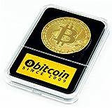 Bitcoin Moneda Física Chapado En Oro De 24k Presentada En Expositor De Luxe