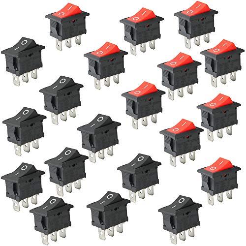 CESFONJER Mini Interruptores Basculantes, Boton Interruptor Rocker, AC 10A / 125V, 6A / 250V 3 Pin ON/Off SPST Interruptores para Coche (10 Pcs Negro, 10 Pcs Rojo)
