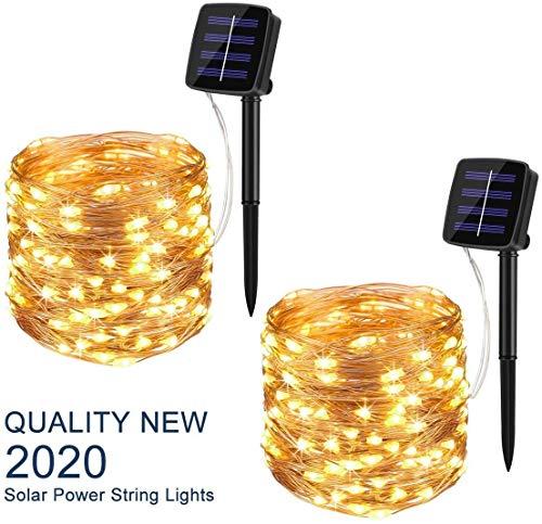 Uhomely Solar Lichterkette Außen, 20M 200 LED Lichterketten Aussen, 8 Modi Wasserdicht Kupferdraht Lichterkette für Balkon, gartendeko, Bäume, Terrasse, Hochzeiten, Partys, Warmweiß
