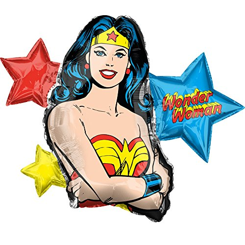 """Anagram 38180 Wonder Woman Foil Mylar Party Balloon, 33"""", Multicolor, Pack of 1"""