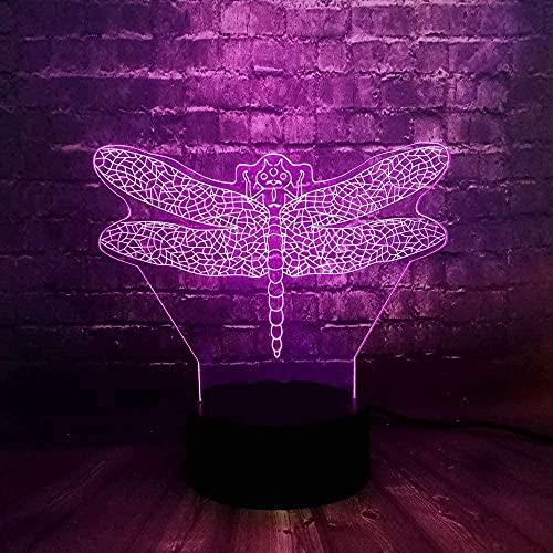 3D LED Night LightInsect libélula female7 Color Touch Light Niños Bebé Dormir Ambiente Decoración Juguetes para el hogar Regalos Habitación de cumpleaños Niños-16 color remote control