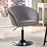 Duhome Modern Velvet Accent Chair Vanity Chair Makeup Chair Desk Chair Round Swivel Tufted Adjustable Grey 1 pcs
