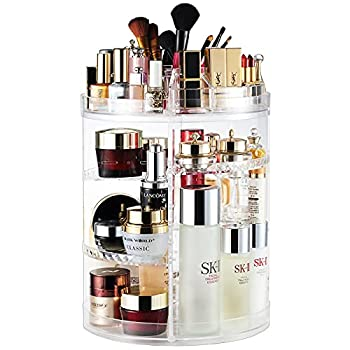 Makeup Organizer 360 Degree Rotating Adjustable Cosmetic Storage Display Case with 8 Layers Large Capacity Fits Jewelry,Makeup Brushes Lipsticks and More Clear Transparent