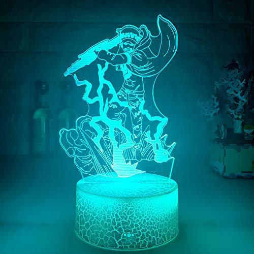Luz nocturna 3D para niños LED 3D, lámpara de noche de anime japonés, trafalgar D. Reglamento acuático, figura de luz nocturna para habitación de los niños, lámpara decorativa de cama HYKK