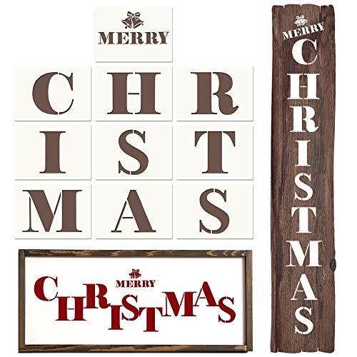 Coogam Plantillas de Navidad - Feliz Navidad Carta Dibujo Plantilla de pintura Cartel de madera reutilizable Vacaciones Plástico Decoración de Navidad grande para manualidades Árbol Pared Puerta