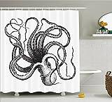 BBFhome Hem Gewichte Duschvorhang 168 x 180 cm Wasserschmuck Kollektion Sea Life Sea Monster Krake Kraken mit Tentakeln Polyester Gewebe Badezimmer Set mit Haken Schwarz Weiß