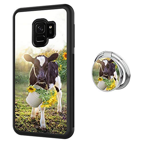 Black Samsung Galaxy S9 Case with Ring Holder Stand Cow Pattern 360 Rotation Ring Grip Kickstand Soft TPU and PC Anti-Slippery Design Protection Bumper for Samsung Galaxy S9