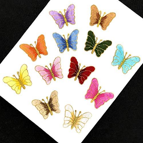 Patch Sticker,Parche termoadhesivo,Aplique de bordado adecuado para sombreros, chaquetas, abrigos, camisetas, combinación de mariposa dorada 12 piezas